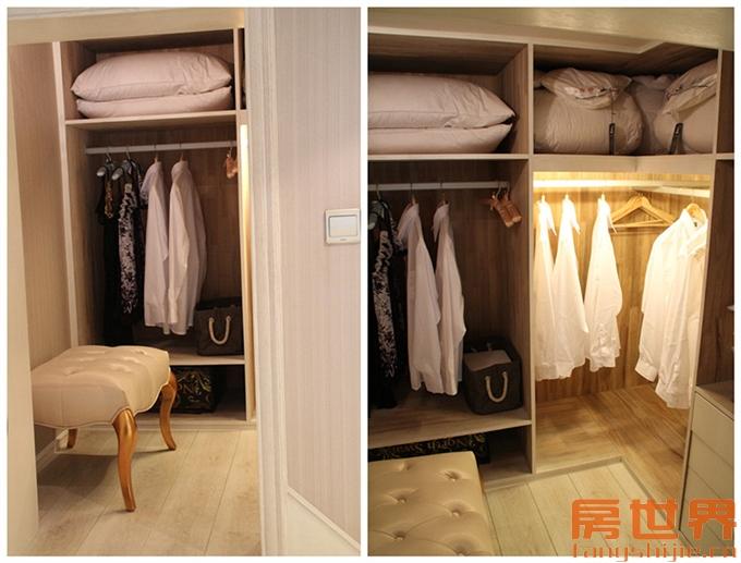 """这个走入式衣柜虽然""""迷你"""",但是容纳两人衣物绰绰有余."""