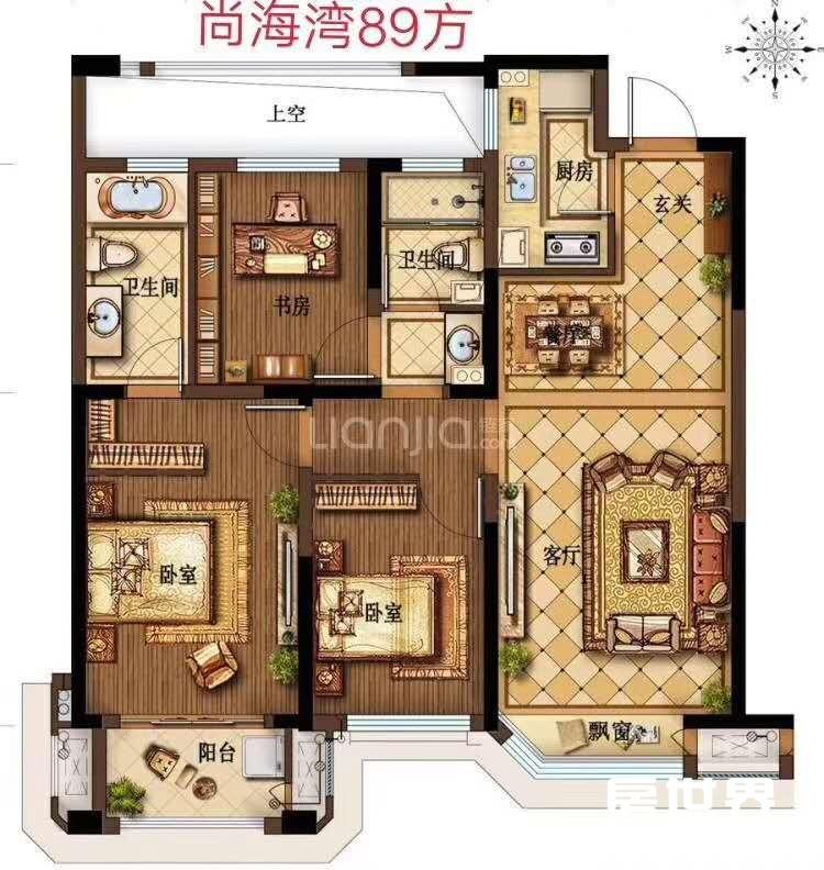 南部卧城,尚海湾,楼层好,三房两厅两卫